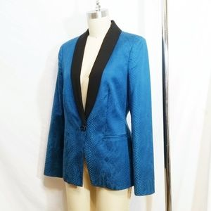 Bebe Tuxedo Jacket Teal Blue Snake Tailored Blazer